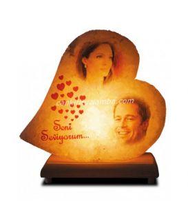 Çift Resimli Kalp Tuz Lambası
