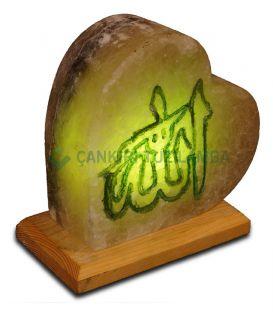 El İşleme Allah Lafzı Kalp Tuz Lamba Kalın Yeşil