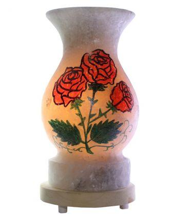 El Çizimi Kırmızı Güllü Vazo Kaya Tuz Lamba 4 Kg