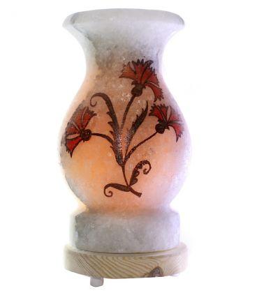 Kırmızı Karanfil Çizimli Vazo Çankırı Tuz Lambası 4 Kg