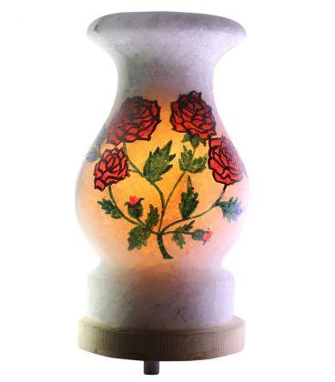 Tomurcuklu Kırmızı Gül Çizimli Çankırı Tuz Lambası 4 Kg