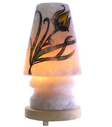 Sarı Lale Çizimli Abajur Çankırı Tuz Gece Lambası 4 Kg