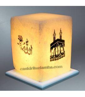 Allah ve Kabe Lafızlı Küp Tuz Lambası