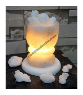 Klasik Tuz Çanağı Şekilli Tuz Lambası ( Beyaz Parça Tuzlu )