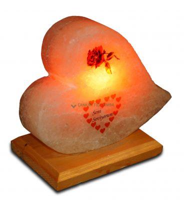 Gül ve Minik Kalpli Kalp Tuz Lambası